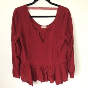 Soprano burnt red burgundy lace blouse medium